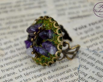 "Ring adjustable ""Geologhia"" Steampunk: Amethyst"