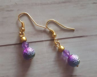 Multicolored beads and bicone earrings