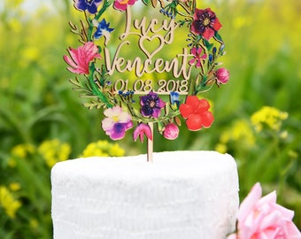 Customized Wedding Cake Topper, Wedding Date Cake Topper, Wedding Decorations, Made of Wood and Printed with Colorful Floral Wreath VU004