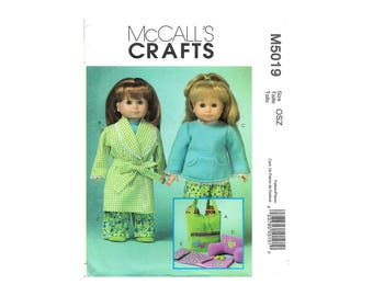 McCalls M5019 18 Inch Doll Clothes and Accessories Tote Robe Pajama Sleeping Bag