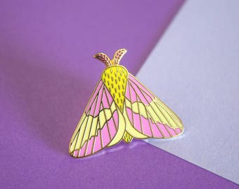 Rosy Maple Moth Hard Enamel Pin