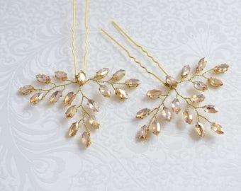 Wedding Hair Pin, Bridal Hair Pin, Bridal Headpiece, Rose Gold Headpiece, Crystal Hair Pin, Wedding Hair Pins, Gold Hair Pin