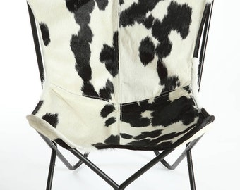 Black U0026 White Cowhide Butterfly Chair   Free Shipping (USA)