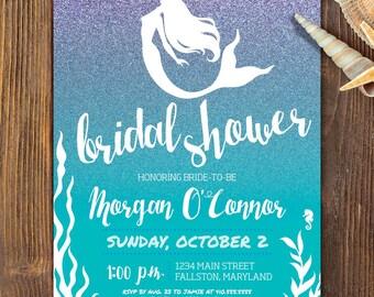 mermaid bridal shower invite mermaid shower purple glitter bridal shower invite watercolor invite beach wedding beach bridal under the sea
