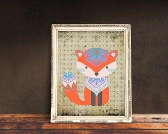 Boho Fox | Bohemian Nursery, Tribal Nursery, Tribal Baby Room, Immediate Download, Printable Poster | Bohemian Animal, Baby Animals
