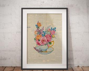 Floral Teapot   Tea Poster, Floral Teapot Print, Flowers Teapot Art, Floral Teapot Art, Teapot Bouquet, Newspaper Print, Teapot Bouquet Art