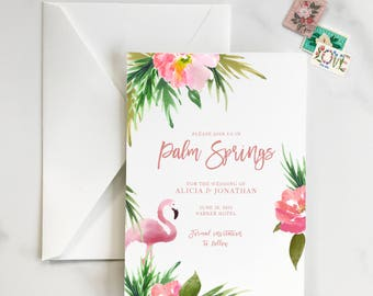 Palm Springs Save the Date, Flamingo Save the Date, Desert, Tropical, Watercolor, Tropical Save the Date, The Parker Save the Date - DEPOSIT