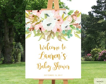 Baby Shower Decorations Girl, Baby Shower Decor, Baby Shower Banner, Baby Girl Shower Decoration, Personalized, Rustic, Floral, Welcome Sign