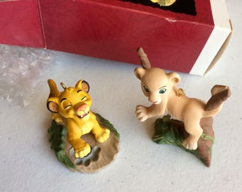 The Lion King Ornament, Simba and Nala Christmas Ornaments, Keepsake Collection by Hallmark, Vintage Disney Figurines