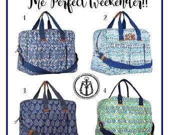 Monogrammed Weekender Bag, Personalized Overnight Bag, Weekend Travel Bag, Large Tote Bag, Carry On Bag, Overnight Bag