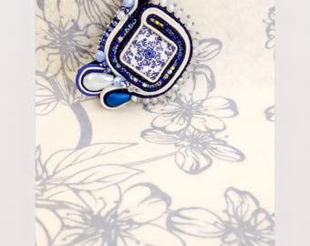 Soutache Square white and blue pendant