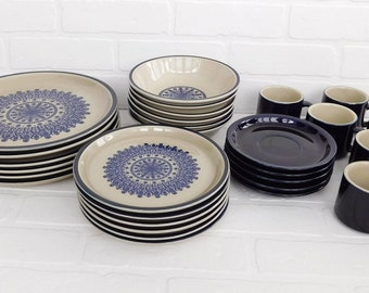 Vintage 30 Pcs Japan Celebrity Stoneware MEDALLION Blue #7195 Dinner Salad Plates & Bowls for 6, Boho Dinnerware, Cobalt Blue