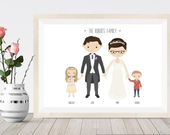 Custom portrait wedding gift, family illustration, cartoon portrait wedding, bride and groom, personalised gift for bridesmaids