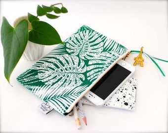 Tropical zipper pouch/Iphone 7 plus wristlet/Original ANJESY designs.