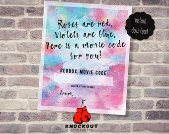 Valentine's Day Redbox® Gift Tag Printable - Roses are Red, Here's a Red Box movie code Valentine 4 on pg - Instant Digital Download