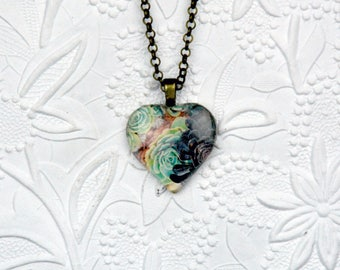 Black and Green Succulent Necklace Desert Rose Necklace Heart Shape Heart Necklace Glass Photo Necklace
