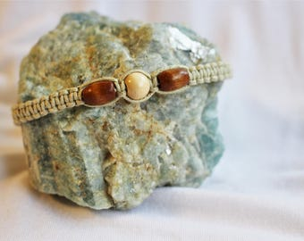 Brown and White Beaded Macrame Handmade Bracelet
