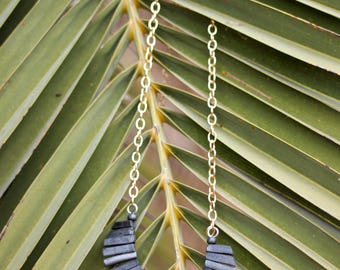 Handmade, Metallic Gray, Stacked Bar, Gold Chain Necklace
