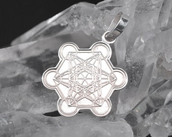 Metatron's Cube necklace, Sterling Silver 925. Sacred geometry. mens jewelry, womens jewelry