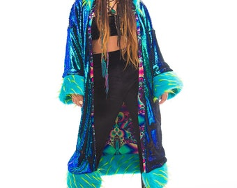 Sequin Kimono with fur hood, cuffs and trim - Sequin Jacket - Perfect for festivals
