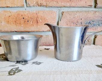 WMF Cromargan Württembergische Metallwarenfabrik 18/10 stainless steel sugar bowl, creamer; vintage 1970s