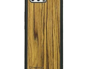 Huawei P10 - Olive -  Wood Case - Real Wooden Case - Black Bumper