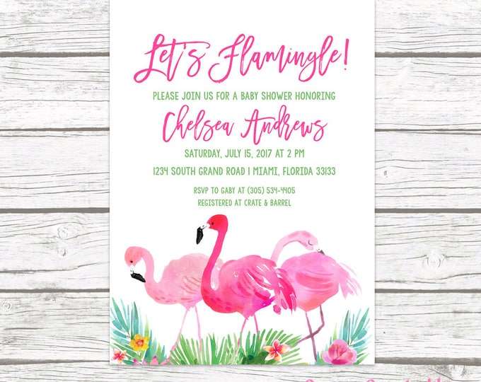 Flamingo Baby Shower Invitation, Let's Flamingle Baby Shower Invitation, Tropical Baby Shower Invitation Printable, Pink and Green