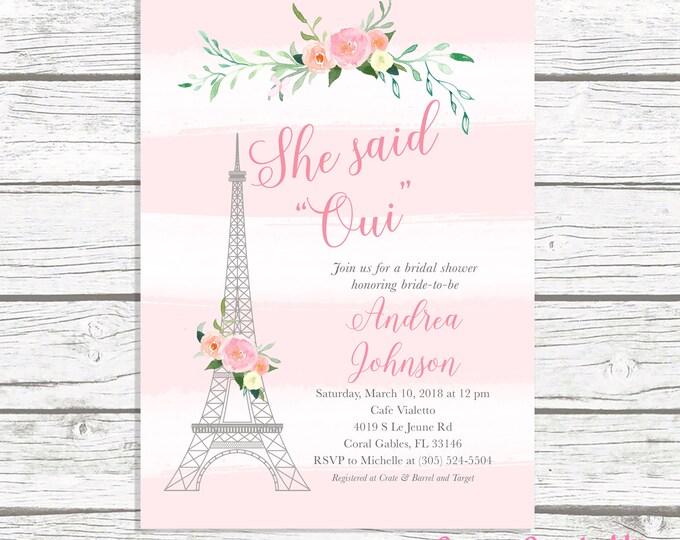 Paris Bridal Shower Invitation, French Bridal Shower Invitation, Eiffel Tower Bridal Shower Invitation, She Said Oui, Parisian Invite