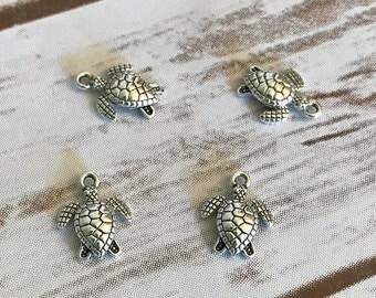Turtle Charms, Beach Charms, Charm Bracelet, Summertime Charms, Turtle Charm