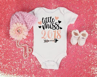 New Years Baby, Little Miss 2018, New Year Baby Top, New Baby Pink Bodysuit, Baby Girl Outfit, New Years Top Arrow Print Black and Rose Gold