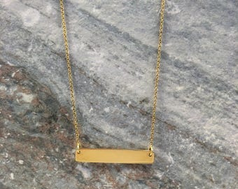 Gold Horizontal Bar Necklace