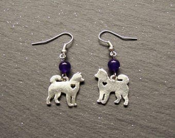 Japanese Dog and Russian Amethyst Earrings, Shiba Inu Earrings, Akita inu Earrings, Dog Jewellery, Kawaii Dog Earrings, Cute dog Earrings