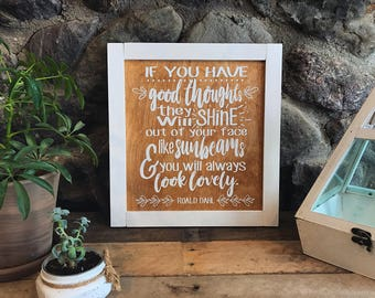 Good Thoughts - Wooden Sign - Home Decor