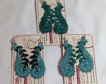Aqua green lace jewelry collection teal dark green color lace earrings  stainless steel straight hook light earrings swirl shape and vine