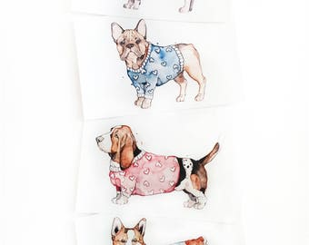 Little Dogs Trio | Watercolor | Drawing | Print | Small | Cute |  Sweater | Marie-Eve Arpin | Illustration | Cute | Corgi | Basset | Pug