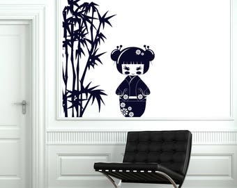 Wall Art Decal Kokeshi Japanese Doll with Bamboo Branches Kids Play Room Decor  (#2607dn)