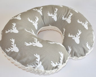 SHIPS TOMORROW - Deer Head on Taupe  Cover - deer, beige, buck head,nursing pillow cover, woodland nursery, boy ,
