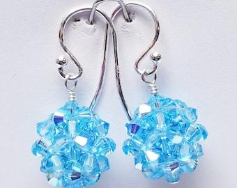 Swarovski, Aqua AB, Crystal Ball, woven, Sterling silver, earrings
