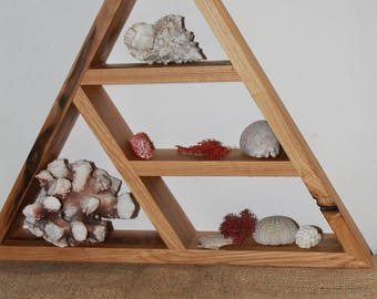 wall altar-display shelf-triangle shelf-crystal display meditation altar hippie shelf rustic shelf-geometric shelf-Pyramid Shelf wood shelf