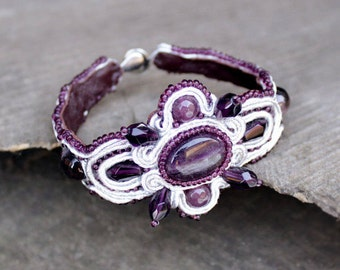 Purple beaded bracelets for women Birthday gifts|for|her Stone bracelet Violet jewelry Amethyst bracelet Cuff bracelet Soutache bracelet
