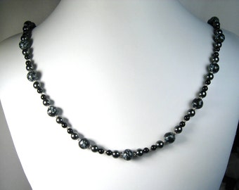Snowflake Obsidian, Hematite and Black Onyx Necklace Silver 24""