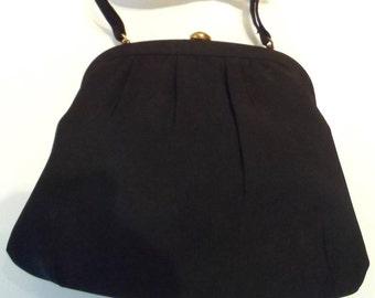 Vintage 1950's evening bag MM Morris Moskowitz black grosgrain made USA handbag