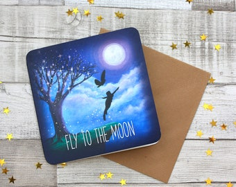 The Be Inspired Collection, Fly to the moon, Magical Artwork, Fantasy Art, Blank Greetings Card, UK Seller.