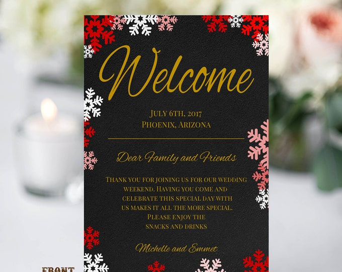 Winter Wedding Welcome Note Template, Welcome Note, Wedding Template, YOU EDIT, Welcome Bag Letter, Hotel Card, Itinerary, Agenda, Printable