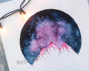 Original Shooting Stars Watercolor Violet Galaxy Painting