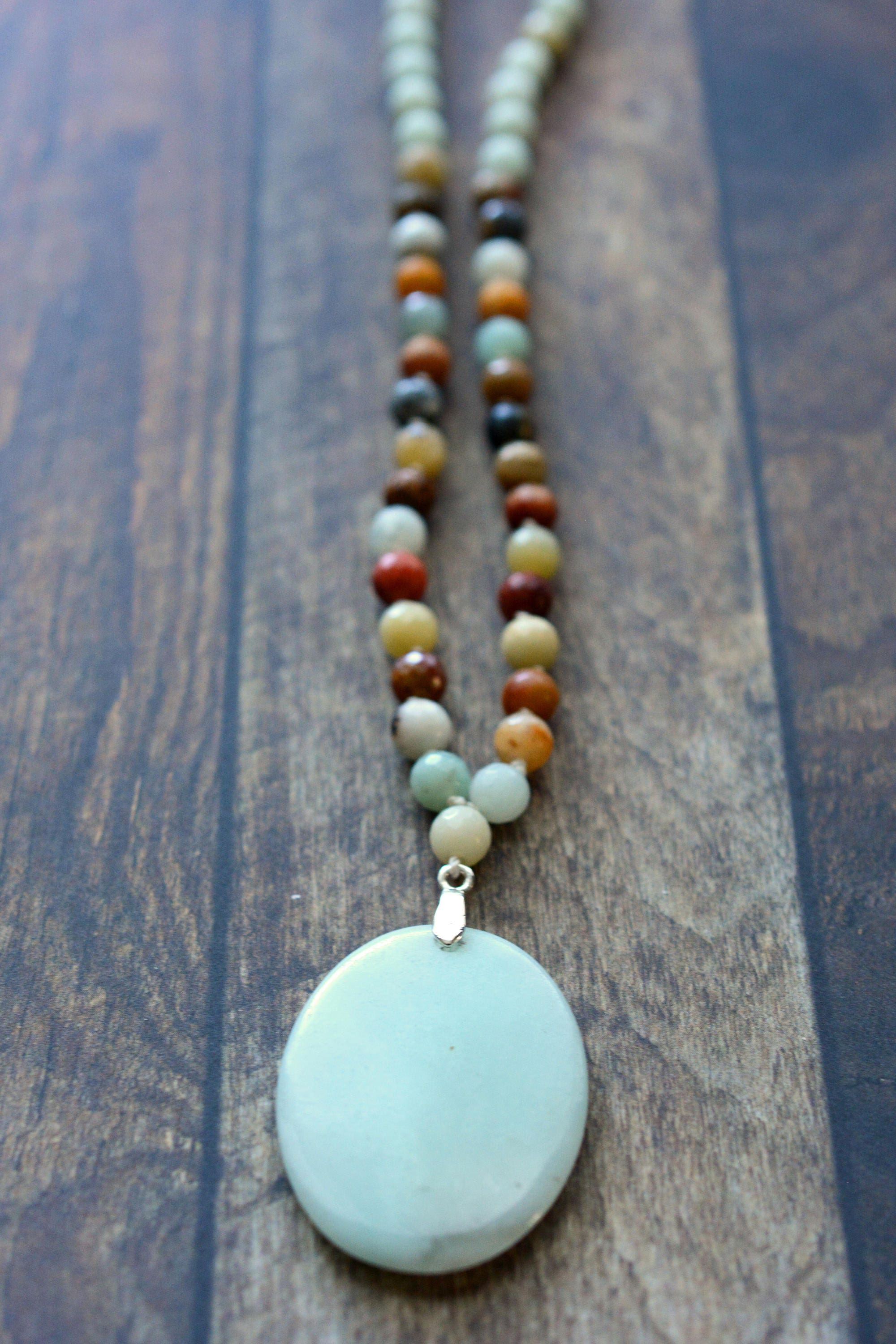 pendant of necklace handmade necklaces l amazonite koi pendent life tree with seasons boho four