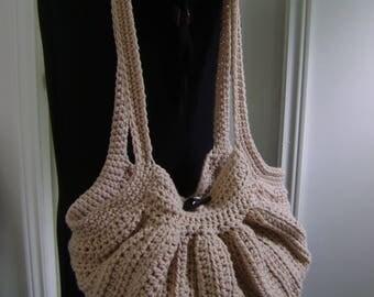 Crochet Fat Bottom Boho Bag, Crochet Handbag, Crochet Purse, Hippie Gypsy Festival Hobo Bag,Light Brown Swag Bag and matching bandana lining