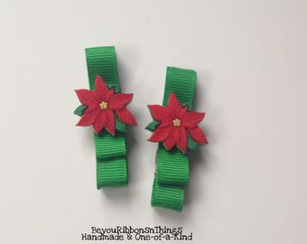 Poinsettias Flowers   Hair Clips for Girls   Toddler Barrette   Kids Hair Accessories   Christmas Green   No Slip Grip   Holidays