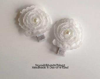 Delicate Cream Flowers | Hair Clips for Girls | Toddler Barrette | Kids Hair Accessories | Grosgrain Ribbon | No Slip Grip