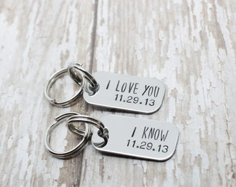 Hand stamped I love you I know couples keychain set with personalized date / nerd gifts / couples keychains / star wars / i love you, i know